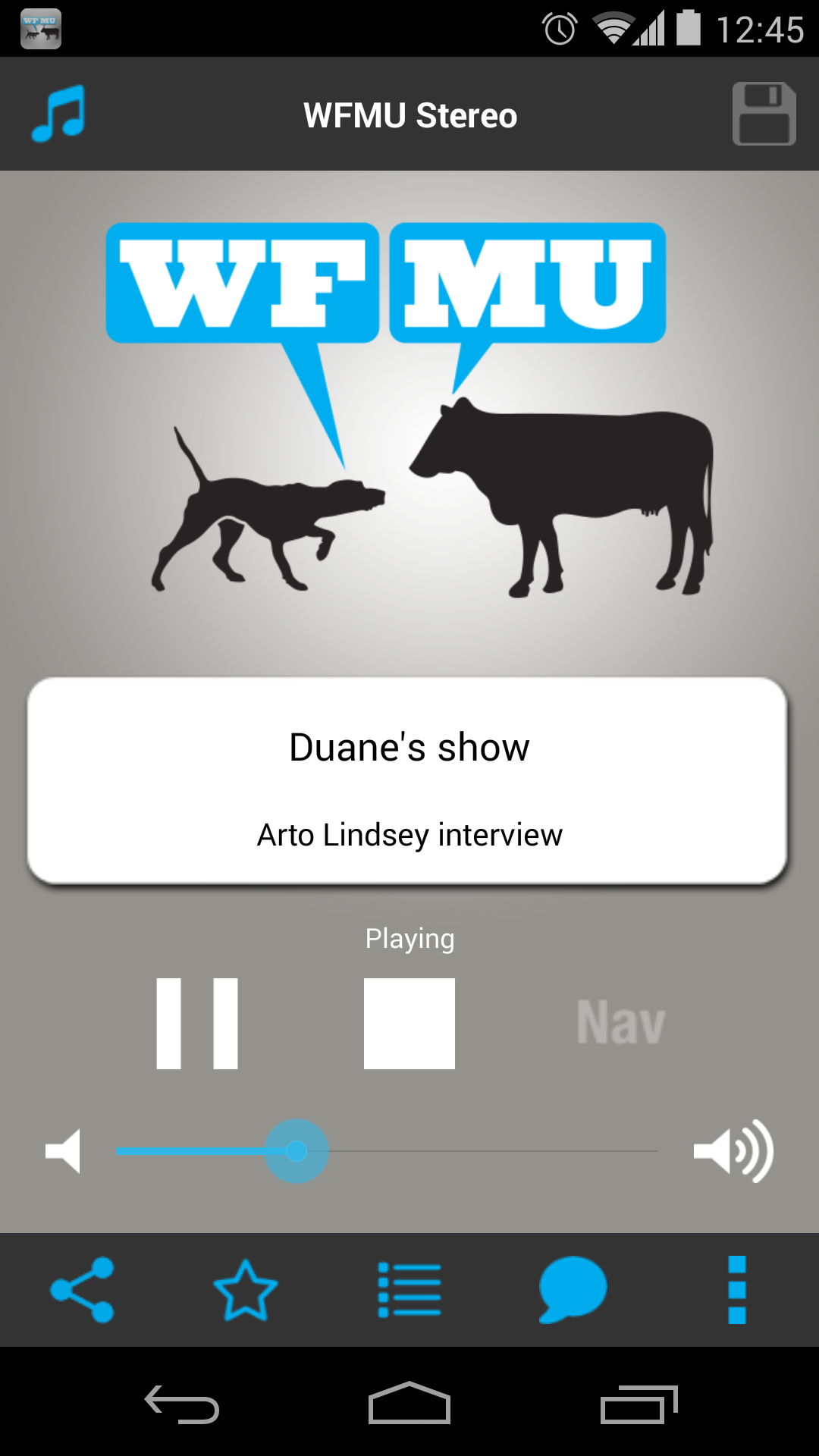WFMU Android App Screenshot